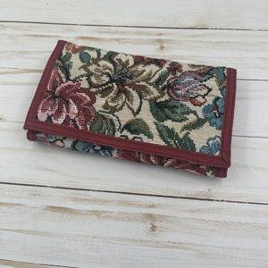 Vintage floral tapestry wallet checkbook boho